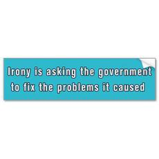 irony is asking the government to fix the problems it caused