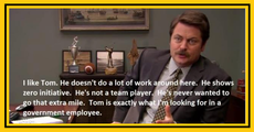 Tom is exactly what I'm looking for in a government employee