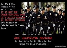 The supreme court ruled it is not the duty of a police officer to protect citizens