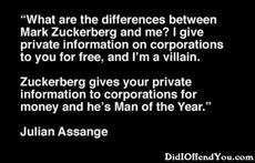 the difference between mark zuckerberg and julian assange