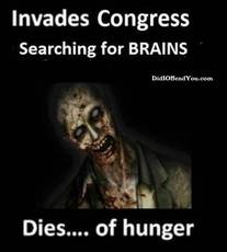 Invades congress searching for brains dies of hunger