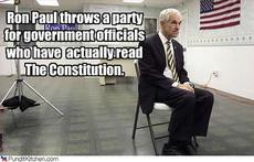 Ron Paul throws a party for government officials who have actually read the constitution