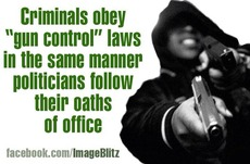 Crimminals obey gun control laws in the same manner politicians follow their oaths in office