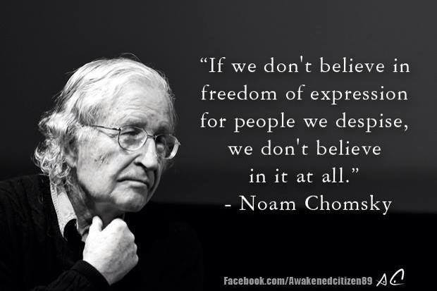 Noam Chomsky If we don't believe in freedom of expression for people we despise we don't believe in it at all