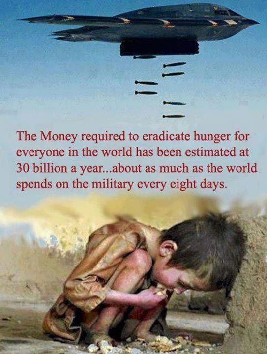 The money required to eradicate hunger is as much as the world spends on the military every eight days