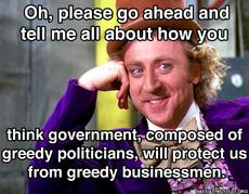 tell me about how government will protect you from greed