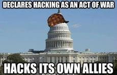 declares hacking as an act of war hacks its own allies