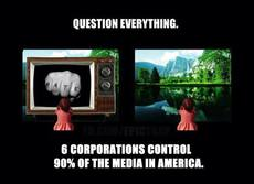 6 corporations control 90 percent of the media in america