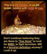 This is a US soldier in an oil tanker loaded with gold in iraq